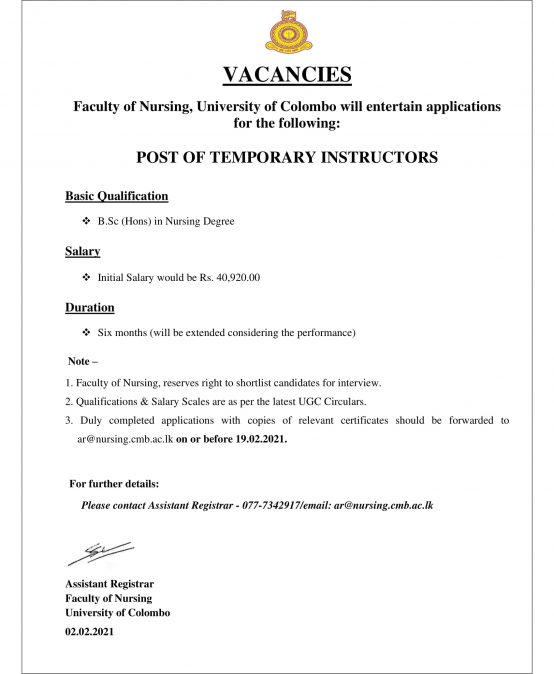 VACANCIES – POST OF TEMPORARY INSTRUCTORS