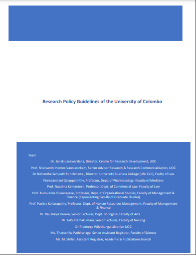 Research Policy Guidelines of the University of Colombo